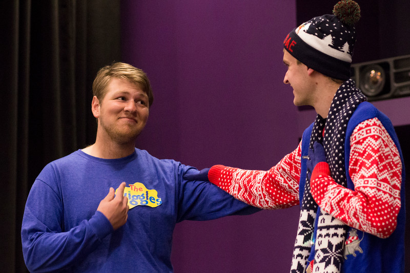 Evan Heger (left) performs during a skit with Jacob Casey (right) for the Halloween Show on October 29, 2018 in Wildcat Chamber. On the Spot Improv holds weekly performances on campus throughout the school year. (Andrea Klepper | Collegian Media Group)