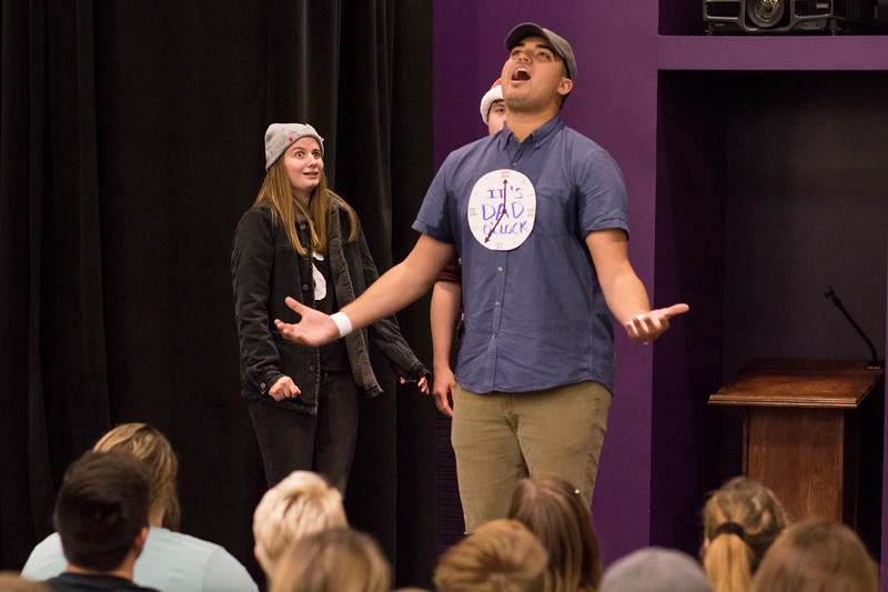 Ben Trickey (right) addresses the crowd as Kailey Meacham (left) watches from behind during a skit for the Halloween Show on October 29, 2018 in Wildcat Chamber. On the Spot Improv holds weekly performances on campus throughout the school year. (Andrea Klepper | Collegian Media Group)