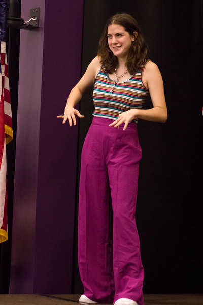 New member, Ashlynn Kullberg introduces herself during the Halloween Show on October 29, 2018 in Wildcat Chamber. On the Spot Improv holds weekly performances on campus throughout the school year. (Andrea Klepper | Collegian Media Group)