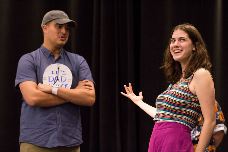 Ashlynn Kullberg (right) and Ben Trickey (left) perform during the Halloween Show on October 29, 2018 in Wildcat Chamber. On the Spot Improv holds weekly performances on campus throughout the school year. (Andrea Klepper | Collegian Media Group)