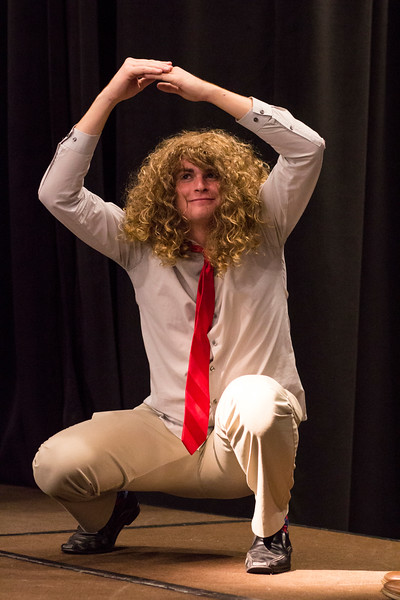 Acting as a planet, Nate Kochuyt performs during the Halloween Show on October 29, 2018 in Wildcat Chamber. On the Spot Improv holds weekly performances on campus throughout the school year. (Andrea Klepper | Collegian Media Group)
