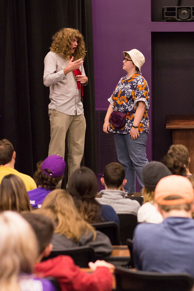 Nate Kochuyt (left) and Lorna Hurt (right) perform for a full crowd during the Halloween Show on October 29, 2018 in Wildcat Chamber. On the Spot Improv holds weekly performances on campus throughout the school year. (Andrea Klepper | Collegian Media Group)