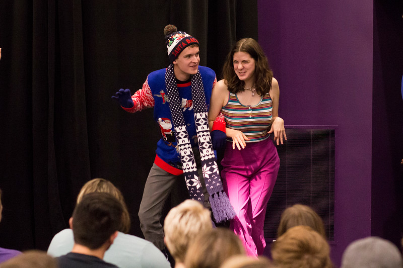 Jacob Casey (left) and Ashlynn Kullberg (right) perform during a skit for the Halloween Show on October 29, 2018 in Wildcat Chamber. On the Spot Improv holds weekly performances on campus throughout the school year. (Andrea Klepper | Collegian Media Group)
