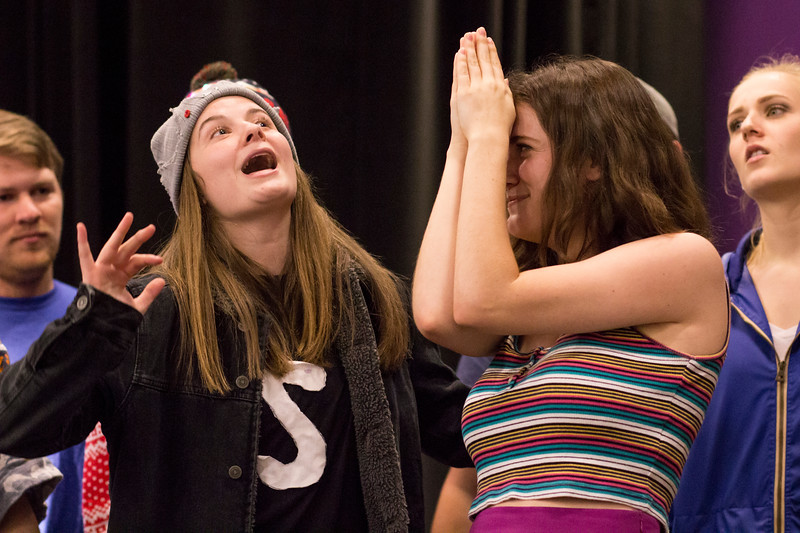 Kailey Meacham (left) performs during a group skit with Ashlynn Kullberg (right) for the Halloween Show on October 29, 2018 in Wildcat Chamber. On the Spot Improv holds weekly performances on campus throughout the school year. (Andrea Klepper | Collegian Media Group)