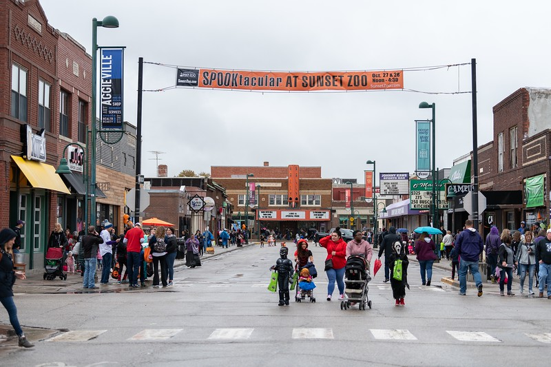 On October 12, 2018, hundreds of families came out to Aggieville for the annual Trick or Treat event where local business hand out Halloween candy. (Alex Todd | Collegian Media Group)