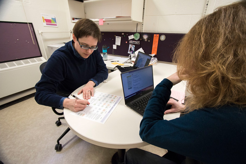 Academic advisor Jessica Changstrom works with sophomore, Blaine Fry to determine his courses for his physics major for the fall 2019 semester. (Sabrina Cline | Collegian Media Group)