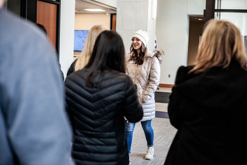 Grace Vogel, freshmen in Business Adminstration and Pre-Law, walks through the Bernie Family Center introducing the center's features to students during a campus tour to perspective students. Vogel works for new student serrvices where she tours selected campus buildings to perpesctive K-State studnets. <br /> (Alanud Alanazi   Collegian Media Group)