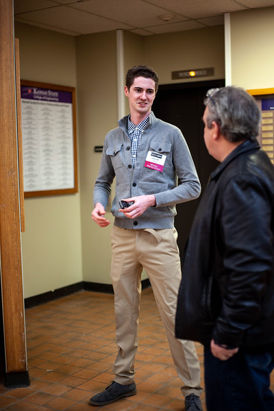Jacob Bandy, senior transfer in Environmental Design, stands by Pasley Auditoruim in Durland hall. <br /> (Alanud Alanazi   Collegian Media Group)