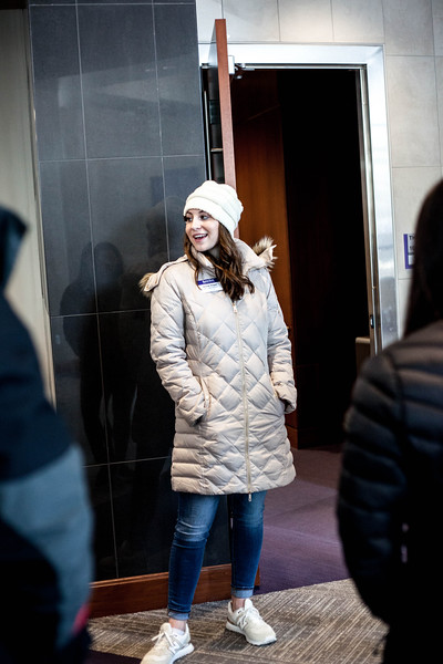 Grace Vogel, freshmen in Business Adminstration and Pre-Law, listens in as members of her tour group introduce themselves. Vogel works for new student serrvices where she tours selected campus buildings to perpesctive K-State studnets. <br /> (Alanud Alanazi   Collegian Media Group)