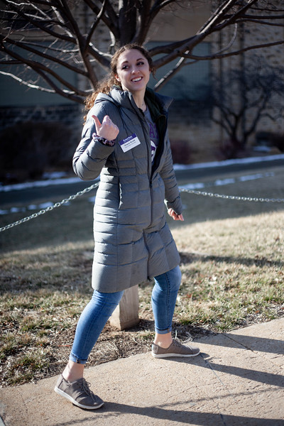 Grace Scoot, sophomore in Social Work, talks to perspective student about sport activities at K-State. <br /> (Alanud Alanazi   Collegian Media Group)