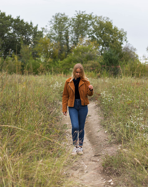 Claire Barnhart a student in horticulture likes coming to Manhattan hill to take in the scenery and to take a break from school. Photo taken on 10/6/19 (Jordan Koster | Collegian Media Group )