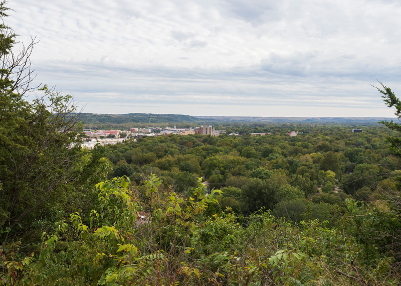 Manhattan Hill is located off of Ehlers Road on Bluemont Drive and is a part of Goodnow Park. The overlook, a city-owned area used for domestic water storage, offers a panoramic view of the original plat of the Manhattan community. To the west, a good portion of the K-State campus can also be seen. Photo taken on 10/6/19  (Jordan Koster | Collegian Media Group)