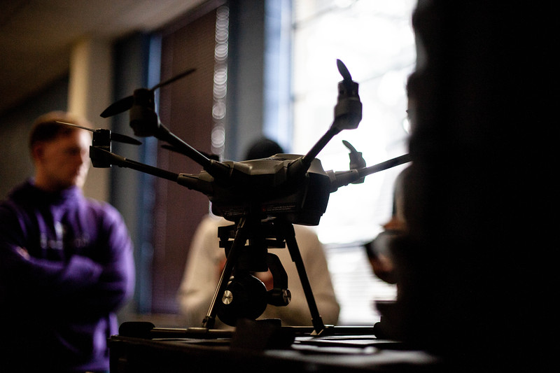 a closeup of one of the drones offered to students during the Drone Photography and Video class offered in the AQ Miller School of Journalism. <br /> (Alanud Alanazi | Collegian Media Group)