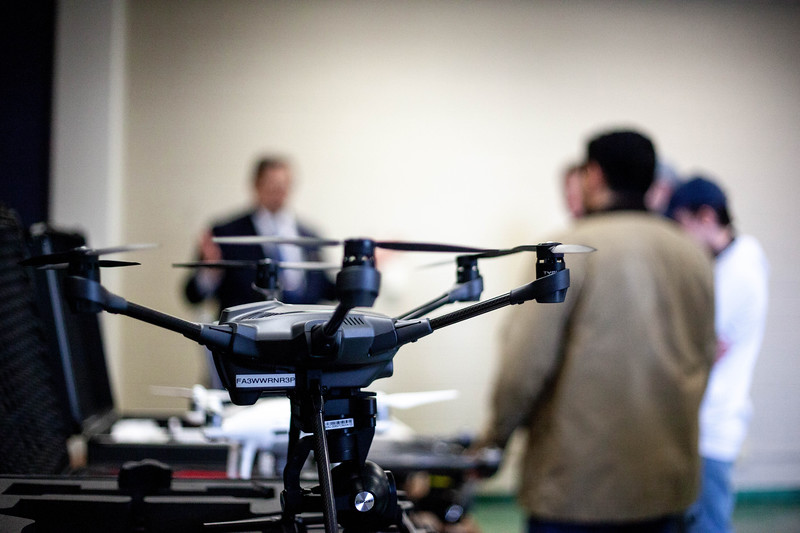 Lineup of drones during the in-class demonstation. Drones are offered to students during the Drone Photography and Video class offered in the AQ Miller School of Journalism. <br /> (Alanud Alanazi | Collegian Media Group)