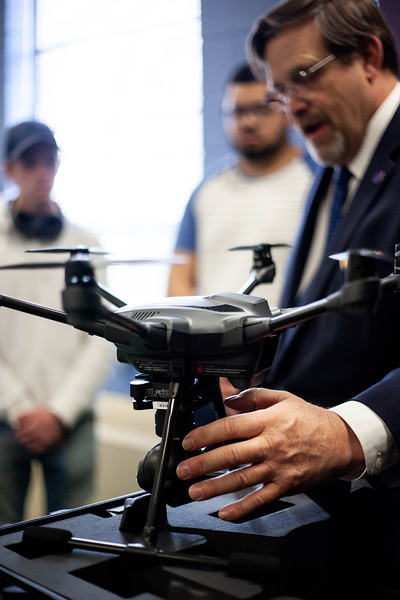 Nick Homberg introduces the drones tudent will use for the remainder of the course. a lineup of some of the drones offered to students during the Drone Photography and Video class offered in the AQ Miller School of Journalism. <br /> (Alanud Alanazi | Collegian Media Group)