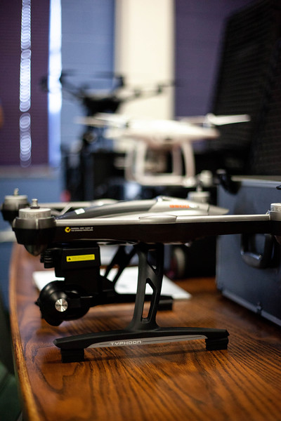 a lineup of some of the drones offered to students during the Drone Photography and Video class offered in the AQ Miller School of Journalism. <br /> (Alanud Alanazi | Collegian Media Group)