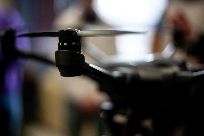 a closup of a drone that's offered to students during the Drone Photography and Video class offered in the AQ Miller School of Journalism. <br /> (Alanud Alanazi | Collegian Media Group)