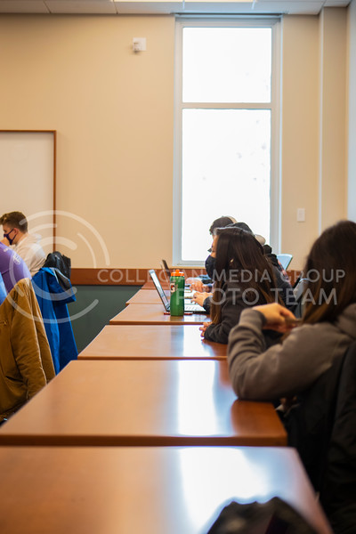Students prepare for a test at the beginning of professor Schmelz advanced selling business course. Students and faculty wear face masks, face shields and are spread out six feet apart in an effort to stop the spread of the COVID-19 virus.  (Dalton Wainscott I Collegian Media Group)