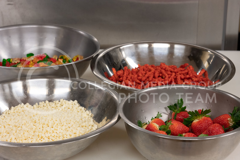 Kansas State, Bakery Science Club, hosted a Chopped challenge where teams were given four random items that they had to make a dessert out of it. The items were Strawberries, White Chocolate, Hot Cheetos, and Gummy Bears. 02.18.20. (Dylan Connell | Collegian Media Group)