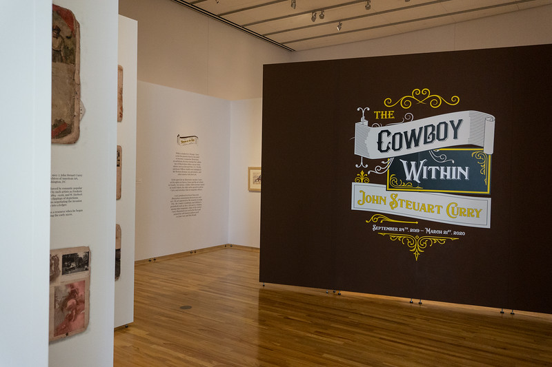 A cowboy at heart: Beach Museum of Art exihibition goes into the many ideas and images of the wild west. The event took place on Sept. 26, 2019 and featured a plethera of works inspired by the cowboy. (Abigail Compton| Collegian Media Group)