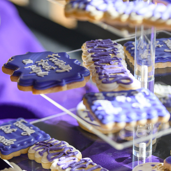 """Cookies displayed for faculty and the public during the College of Health and Human Sciences name change ceremony. The cookies say """"Focusing first on people"""" on Oct 25, 2019. (Dylan Connell 