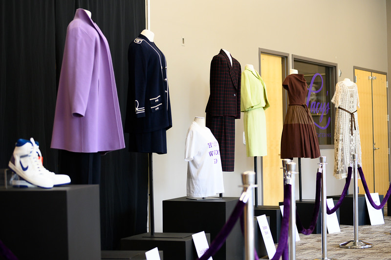 Past dean power suits displayed during the College of Health and Human Sciences name change ceremony. Oct 25, 2019. (Dylan Connell | Collegian Media Group)