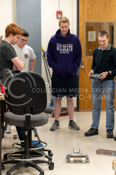 K-State Combat Robotics team, Robot, built by, Eero Halbleib, Tyler Mounce, Alex Howard and Kyle Bannon. This Robot will be prepared for battle once the armor and weapons are attached. (Dylan Connell | Collegian Media Group)