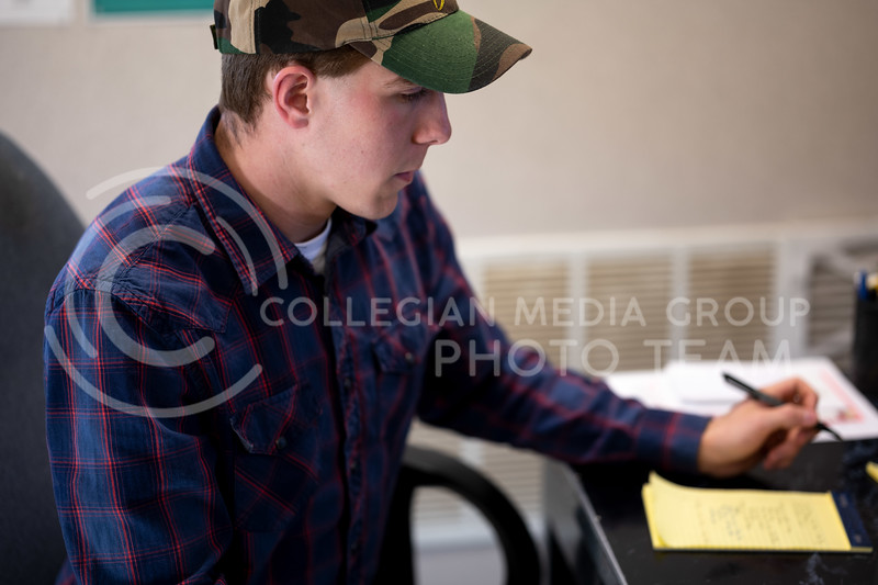 Morgan Scilacci, Graduate Animal Science student, lives at the Kansas State Purebred Beef Unit. His research focuses on how to raise a nutrient and healthy Heifer and Steer. (Dylan Connell   Collegian Media Group)