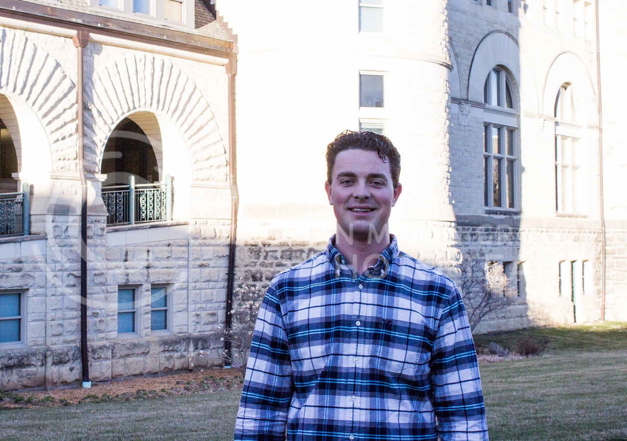 Jaden Jeffery, freshman in kinesiology, stands out side of Hale Library on March 3, 2017. (Regan Tokos | The Royal Purple)