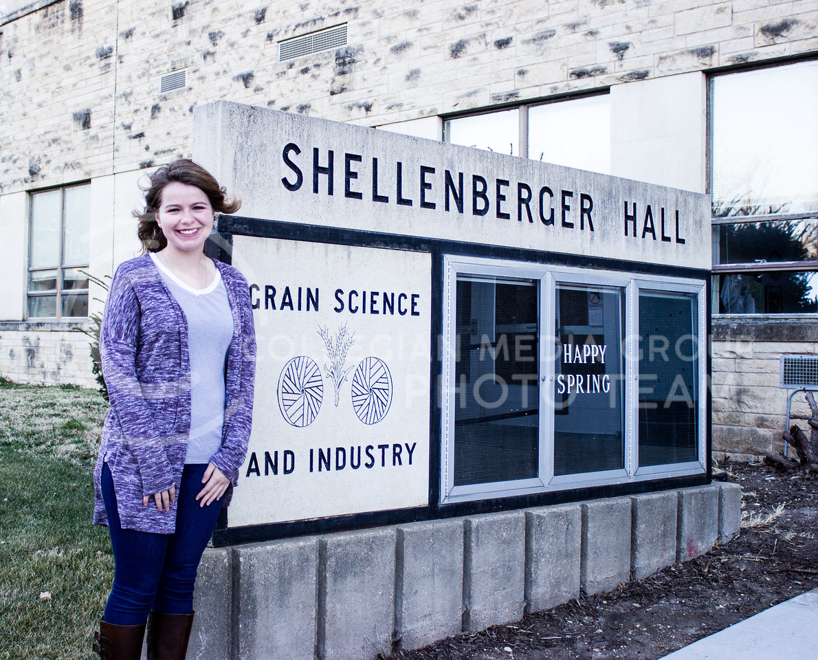 Sophie Dunlap, freshman in bakery science management stands outside Shellenberger Hall on March 3, 2017. (Regan Tokos | The Royal Purple)
