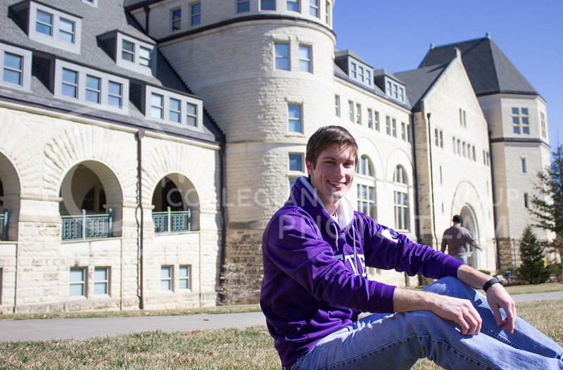 Jarret Griffey, freshman in architectural engineering, sits outside of Hale Library on March 1, 2017. (Regan Tokos | The Royal Purple)