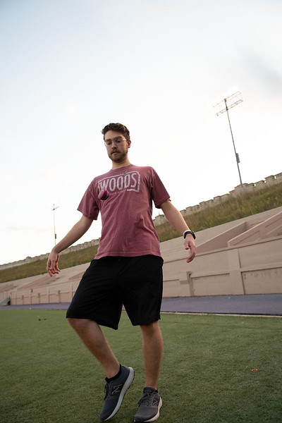 Seth Montgomery, Junior studying Finance and Leadership, kicks the hacky sack at Memorial Stadium. Oct 3, 2019. (Dylan Connell | Collegian Media Group)