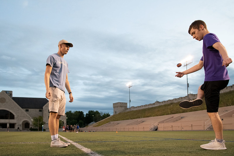 Hunter Spicer (left) Ryan Grimes (right) challenge off to see who can hit the hacky sack the most. Oct 3, 2019. Dylan Connell | Collegian Media Group)