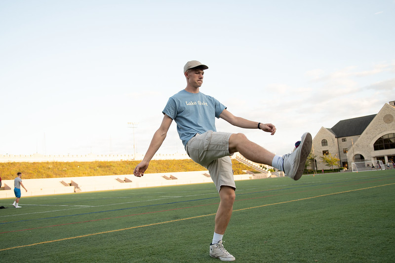 Hunter Spicer, Freshman studying Music Education, kicking the hacky sack at Memorial Stadium. Oct 3, 2019. (Dylan Connell | Collegian Media Group)