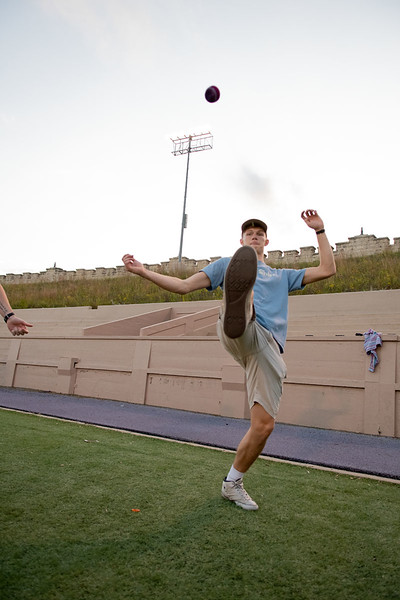 Hunter Spicer kicking the hacky sack at Memorial Stadium. Oct 3, 2019. (Dylan Connell | Collegian Media Group)