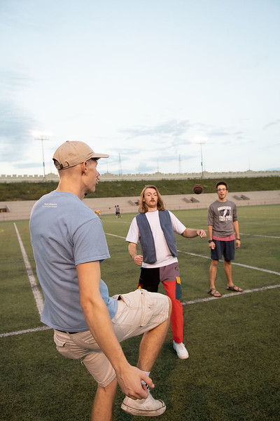 Hunter Spicer, Andrew Kemp, Josh Montgomery pass the hacky sack to one another. Oct 3, 2019. Dylan Connell | Collegian Media Group)