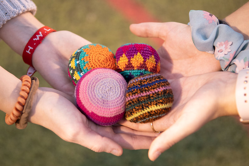 Hacky Sack club meets weekly on Wednesdays 6:30 pm at Memorial Stadium. Oct 3, 2019. (Dylan Connell | Collegian Media Group)