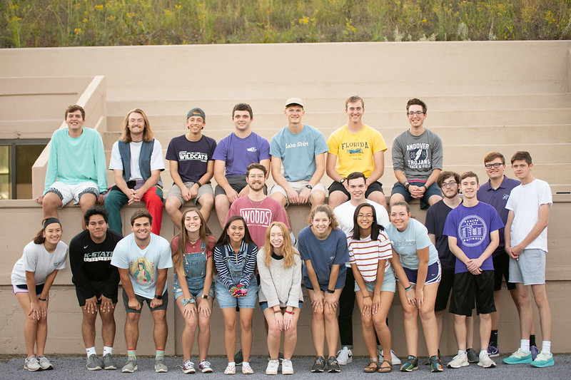 President Gia Vargas, (holding the hacky sacks) surrounded by club members, Dawson Bailey, Hunter Spicer, Josh Montgomery, Justin Yuroko, Andrew Stene, Andrew Kemp, Patrick George, Madelyn Turner, Ryan Grimes, Erica Steinbach, Seth Montgomery, Jay brown, Tommy Long, Lillie McQueen, Brian Mota, Malean Meyer, Kaitlin Johnston, Alena Pfrang. Oct 3, 2019. (Dylan Connell | Collegian Media Group)