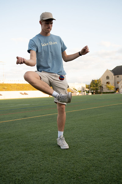 """When asked what's the best part of the Hacky Sack club, Hunter Spicer replied, """"how competitive it can be but we're all still having fun"""". Oct 3, 2019. (Dylan Connell 