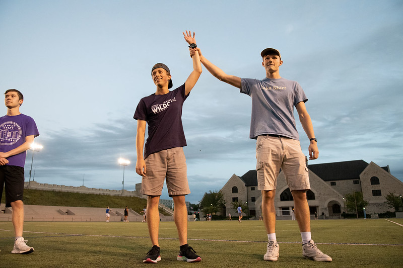 Justin Yurosko wins against Ryan Grimes in the hacky sack challenge to see who hits it the most times consecutively. Oct 3, 2019. (Dylan Connell | Collegian Media Group)