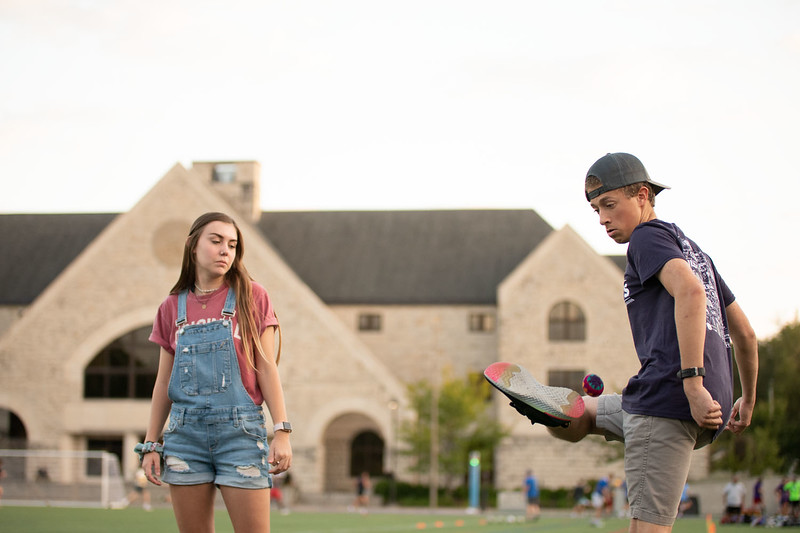 Justin Yurosko, Madelyn Turner pass the hacky sack to one another. Oct 3, 2019. (Dylan Connell | Collegian Media Group)
