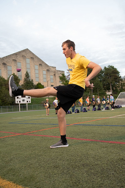 Dawson Bailey, Senior Architectural Engineering major, knocks the hacky sack in the air. Oct 3, 2019. (Dylan Connell | Collegian Media Group)
