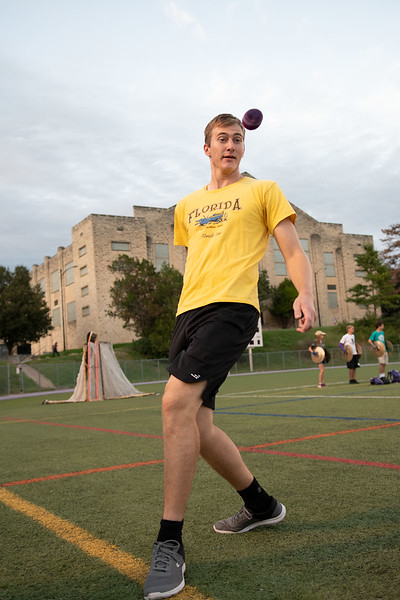 While attending the Hacky Sack club, Dawson Bailey eyes the hacky sack mid air; he studies Architectural Engineering. Oct 3, 2019. (Dylan Connell | Collegian Media Group)