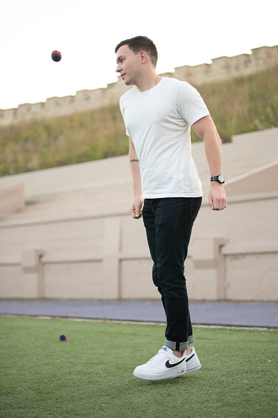 While attending the hacky sack club, Andrew Stene, Junior majoring in computer science, eyes the hacky sack mid air. Oct 3, 2019. (Dylan Connell | Collegian Media Group)