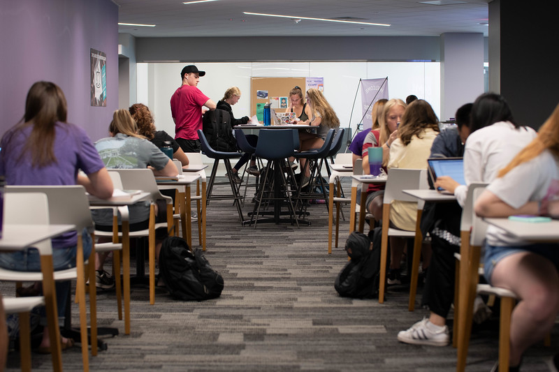 Wildcats gathered around the hale library desks to study with other students. Sept 30, 2019. (Dylan Connell | Collegian Media Group)