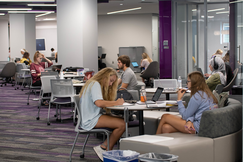 Wildcats studying in the hale library first floor. Sept 30, 2019. (Dylan Connell | Collegian Media Group)