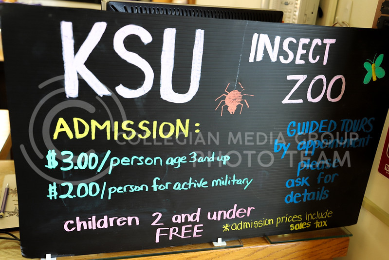 The admission sign at the Insect Zoo. (Monica Melber | Collegian Media Group)