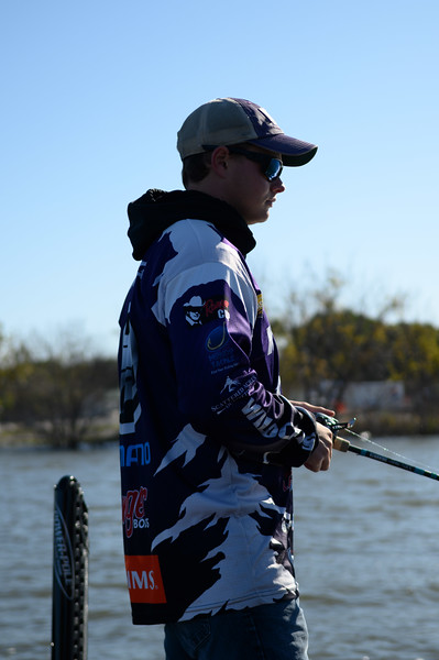 KSU Accounting major, Michael Mueting, practices for the  Big Bass Bash Fundraiser Tournament located at Milford Lake. Oct 12, 2019. (Dylan Connell | Collegian Media Group)