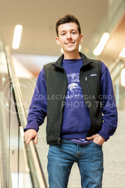 Kansas State University Ambassador, Charles Corredor, pursued K-State because of his high school friend, Mario Garcia, Previous KSU ambassador.  He is currently pursuing a degree in Financial Management. February 21, 2020. (Dylan Connell | Collegian Media Group)