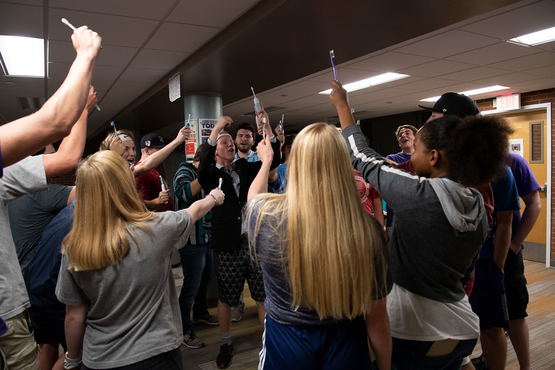 """When asked how the toothbrush party was created, founder Quin Napier, Freshman in Professional Strategic Selling, replied """"we created the toothbrush party after bringing a speaker into the bathroom playing hype songs. It steadily gained members when we brought the party to the lobby"""". Oct 4, 2019. (Dylan Connell 